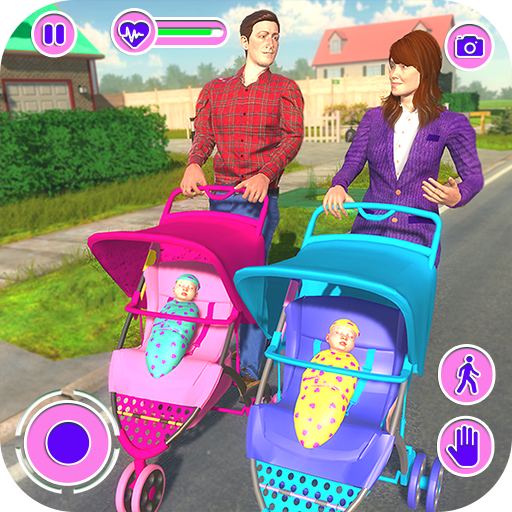 Virtual Mother Happy Family Twins Baby Care Adventure Game -