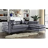 Iconic Home Vinci Tufted Silver Trim Grey Velvet Right Facing Sectional Sofa with Silver Tone Metal Y-Legs