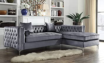 Iconic Home Da Vinci Tufted Silver Trim Grey Velvet Right Facing Sectional Sofa with Silver Tone : grey velvet sectional sofa - Sectionals, Sofas & Couches