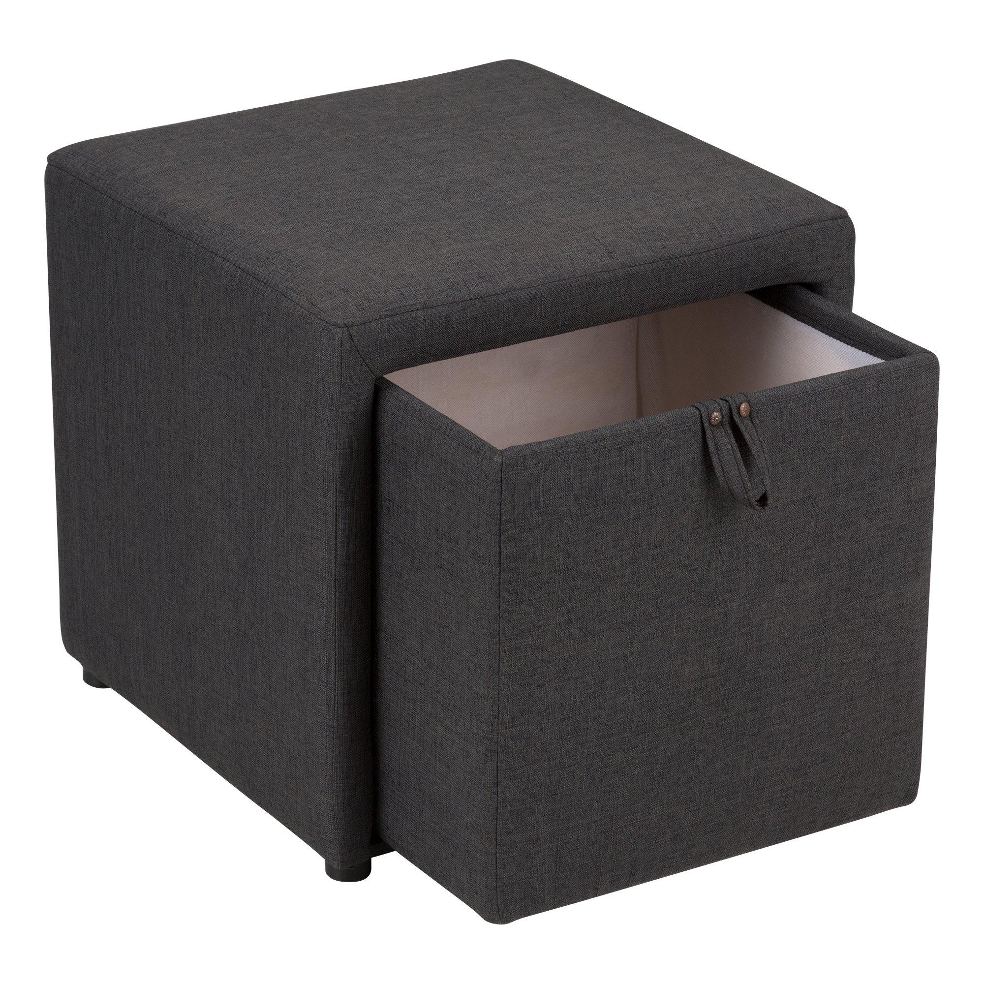Fat Catalog Cube Storage Stool w/Drawer, Gray, ALT-OUG1001-SO by Fat Catalog (Image #5)