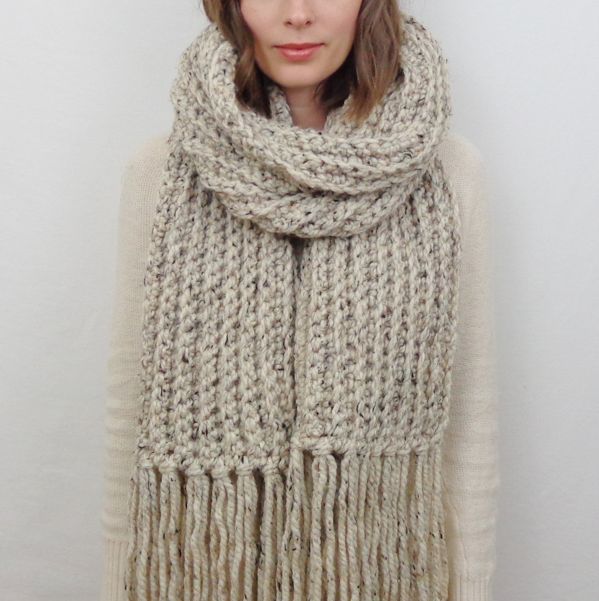 Oversized Knit Scarf with Fringe (Choose your Color) | THE LONDON by Forefolk Studio