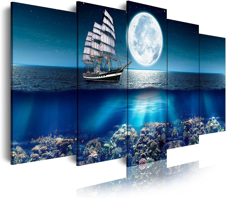 DekoArte Cuadros Modernos Impresión de Imagen Artística Digitalizada, Lienzo Decorativo Para Tu Salón o Dormitorio, Estilo Paisajes Mar Océano Barco Velero, multi azules, 5 piezas (150x80x3cm)