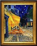 ゴッホ 夜のカフェテラス 複製画 大サイズ (外径620mm×510mm) 高品質ジクレープリント アクリル板付属 (ゴールド)