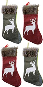 Happy Packs Christmas Burlap Stockings Woven Red and Green Burlap with Reindeer Applique and Plush Brown Faux Fur Cuff for Holiday Xmas Party Family Decorations - Set of 4 (4, Reindeers)