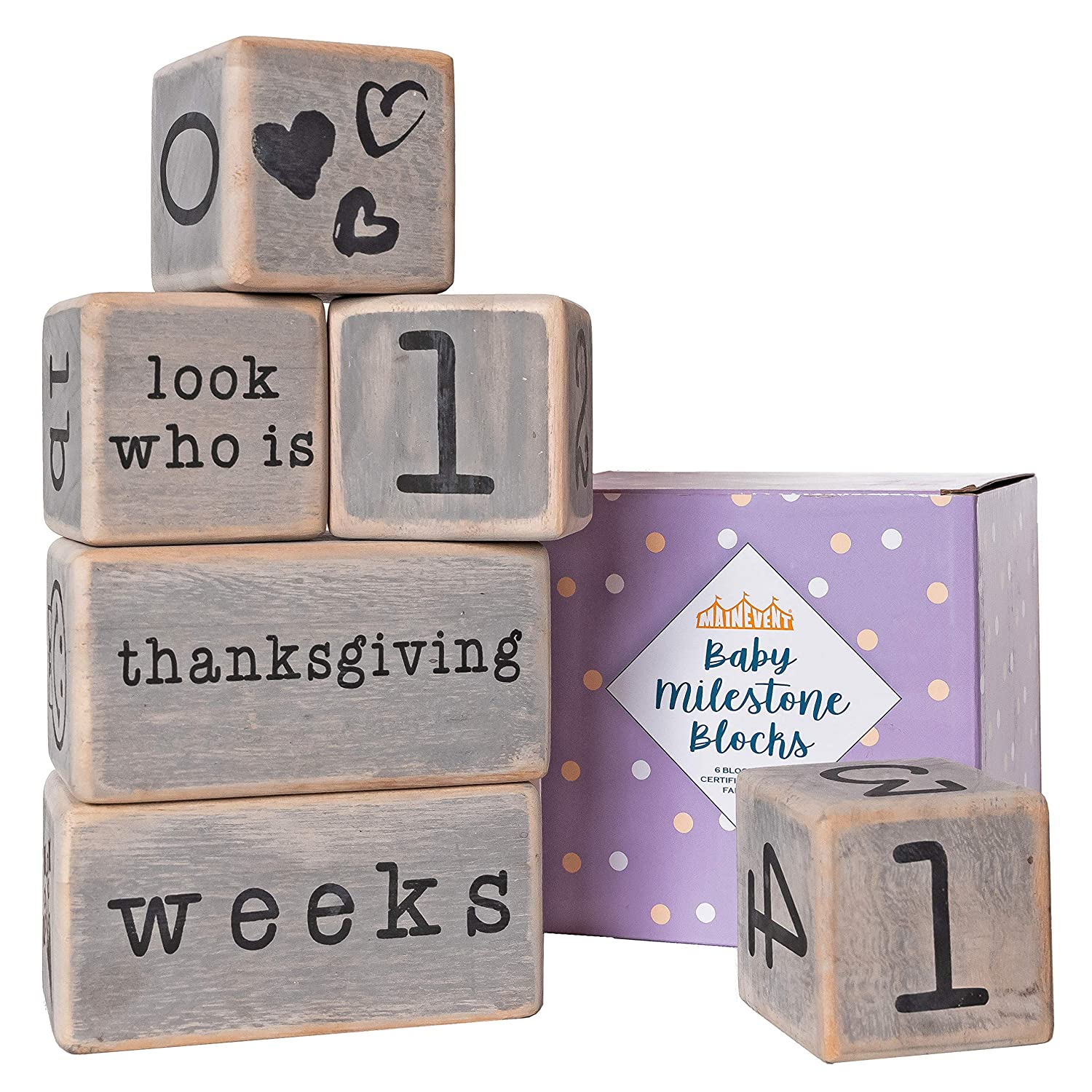 Baby Monthly Milestone Blocks - 6 Blocks, The Most Complete Set, Baby Photography Props for Social Media, Rustic Baby Nursery Decor (Gray)
