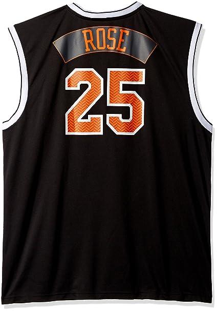 new concept bc60d 19fc5 NBA New York Knicks Derrick Rose #25 Chevron Fashion Replica Jersey, Black,  XX-Large