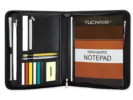 tuckmer Business portadocumentos con cremallera | reanudar cartera organizador | Executive – Funda de piel con