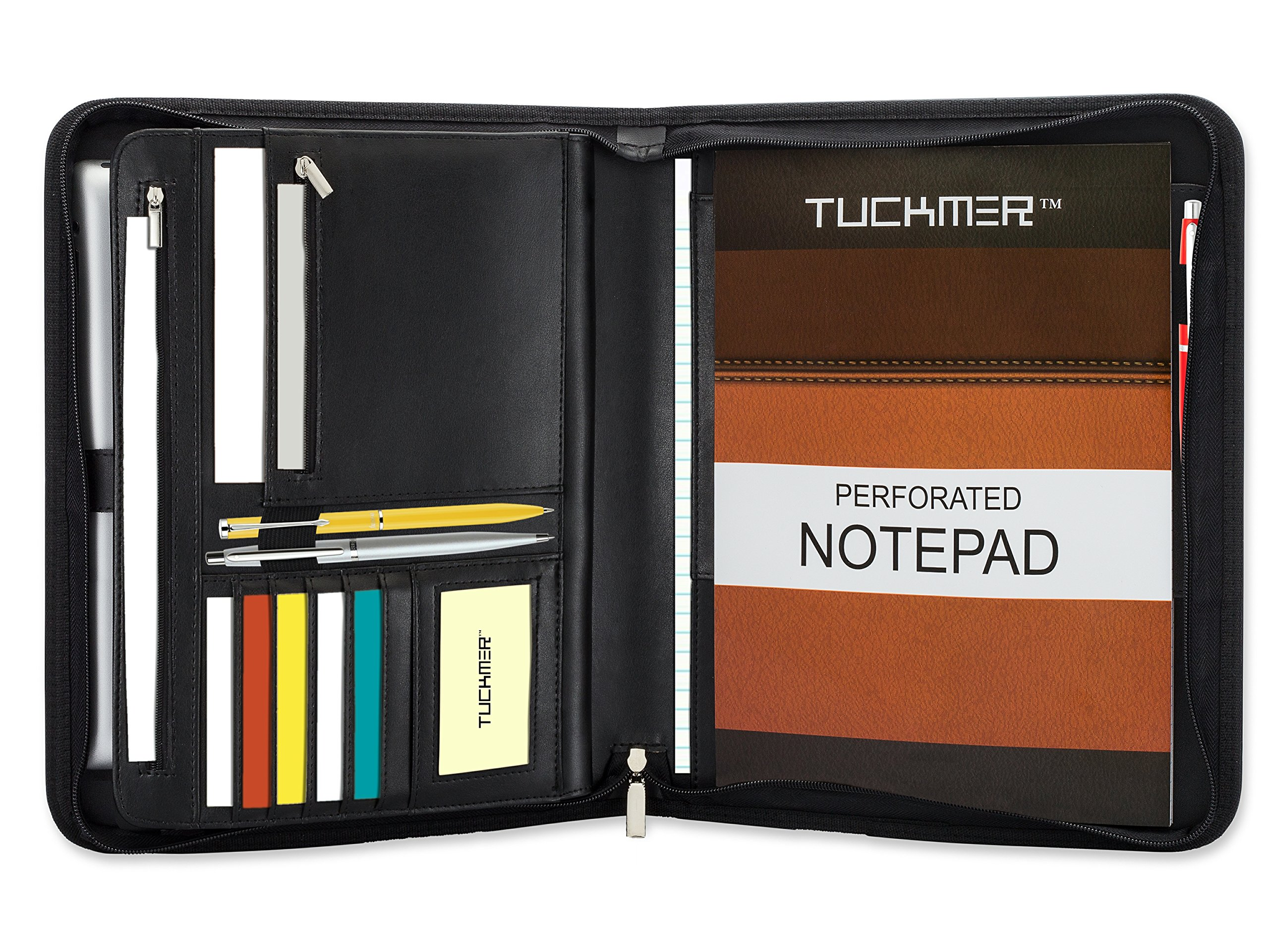 TUCKMER Padfolio with Zipper Business Zippered Portfolio Organizer Binder Expandable Tablet Holder and Spiral Calendar Notebook Pocket | Include Notepad