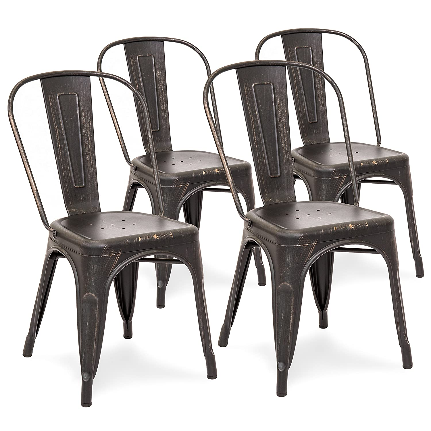 Amazon com best choice products set of 4 distressed industrial metal dining side chairs bronzed black chairs