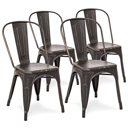 Best Choice Products Set of 4 Distressed Industrial Metal Dining Side Chairs (Bronzed Black)  sc 1 st  Amazon.com & Amazon.com - Best Choice Products Set of 4 Distressed Industrial ...