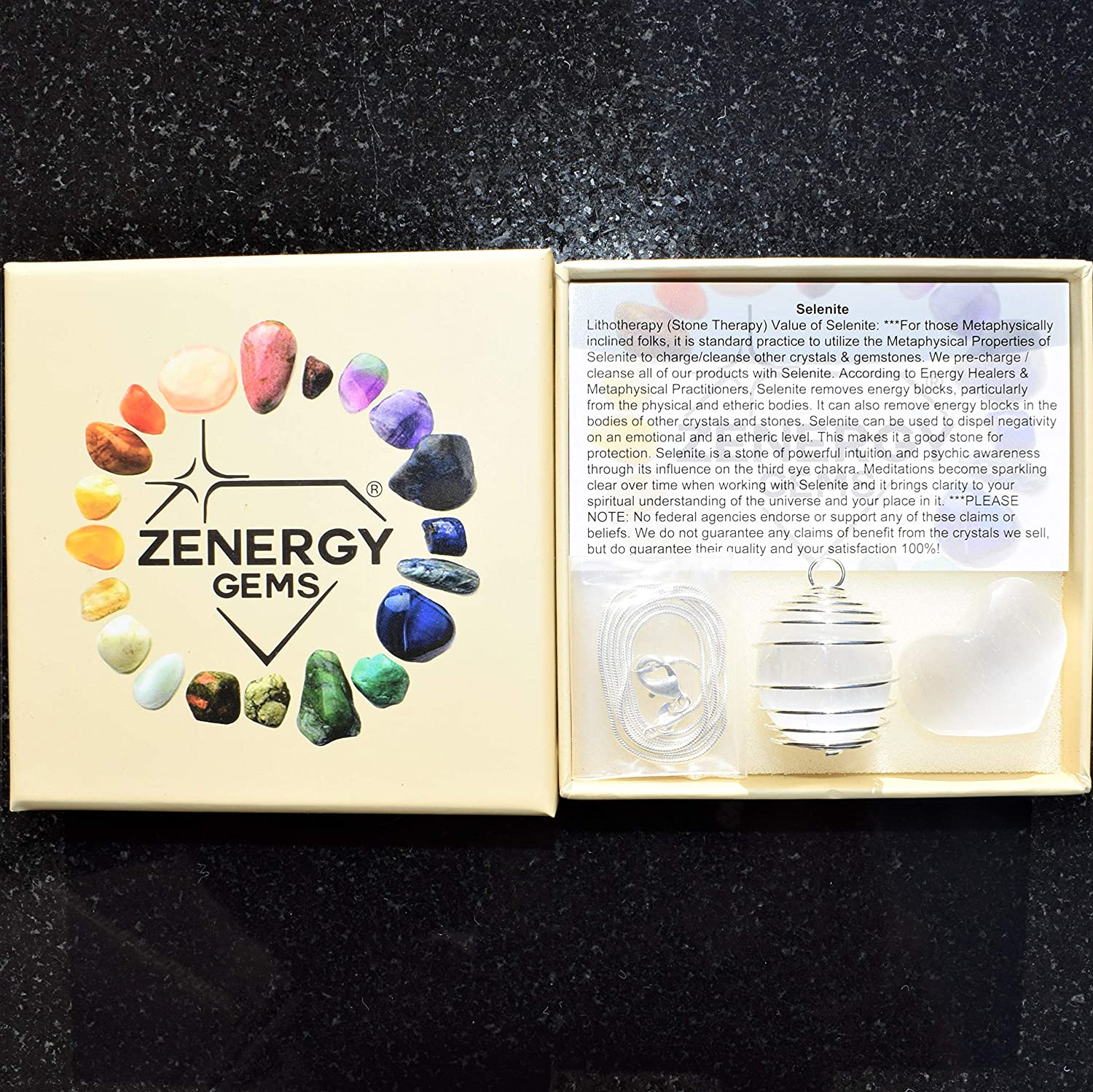 Zenergy Gems Perfect Pendant Charged Polished Moroccan Selenite Crystal Pendant 20 Silver Chain Selenite Charging Heart Included Healing Energy - Negative Energy Absorber