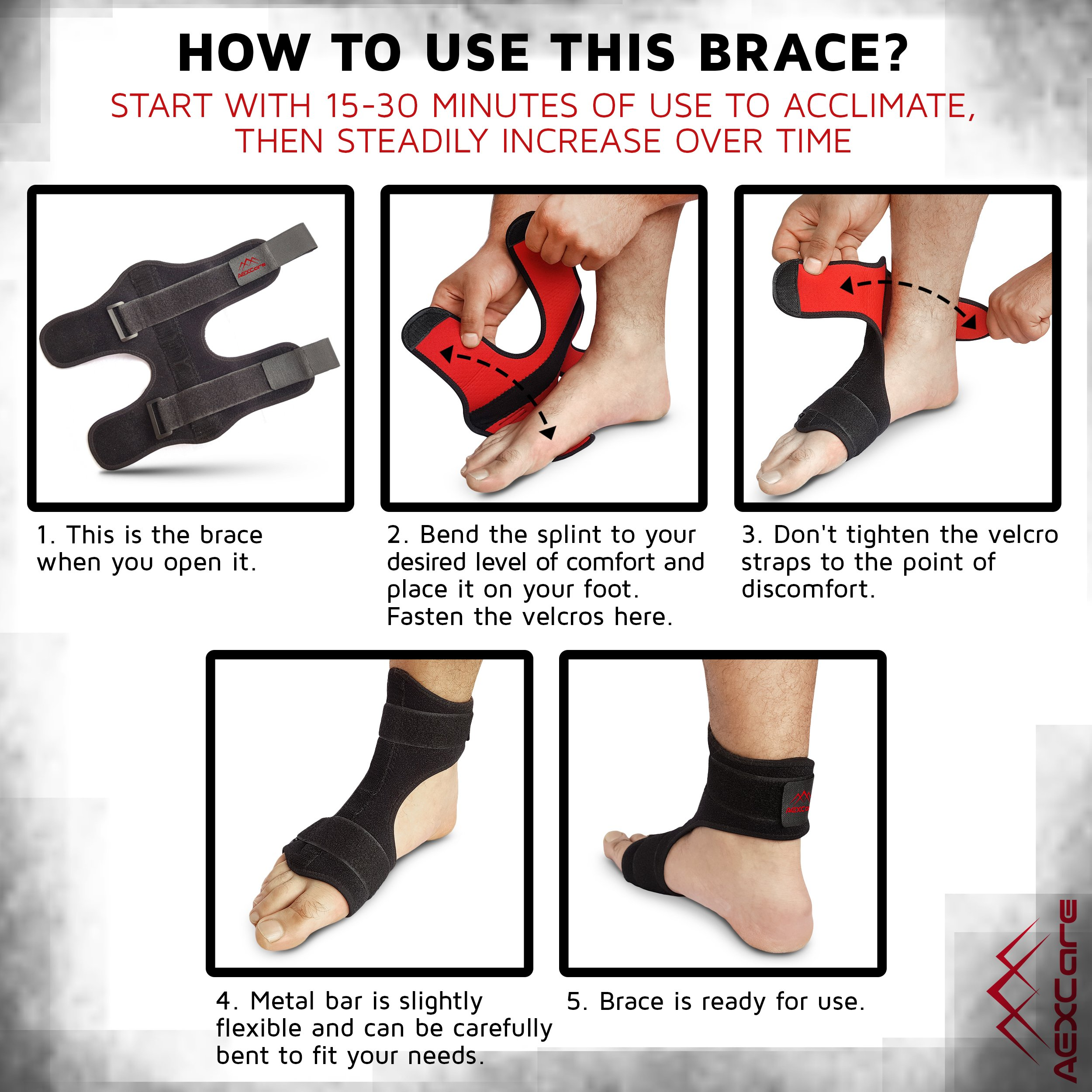 Plantar Fasciitis Foot Brace Night & Day Splint, Injury Support for Heel Pain Relief, Adjustable by AEXCare by AEXCare (Image #4)