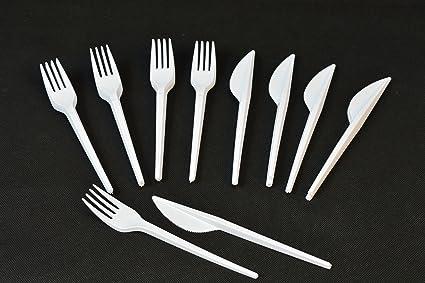 Unbekannt Juego de 100 Cuchillos de plástico + Tenedores ...