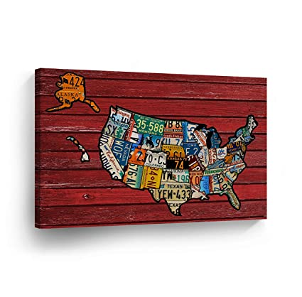 Amazon.com: United States Map License Plate Map Canvas Print States ...
