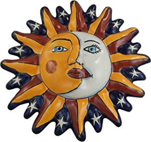 Mexican Talavera Ceramic Sun Face Wall Decor Hanging Pottery Folk Art # 23