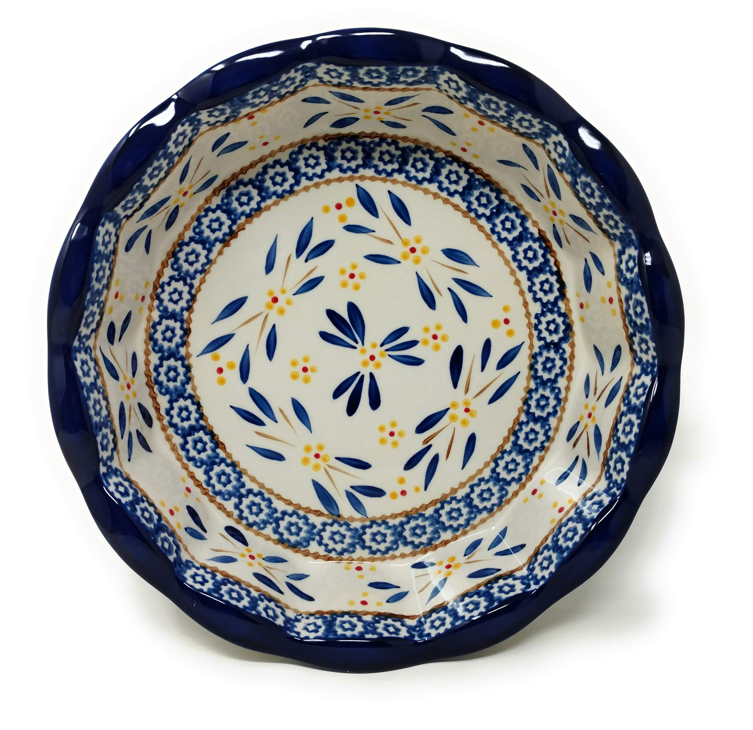 Temp-tations 10'' x 2.25'' Pie Pan w/Cover, Scalloped, Deep Dish Pizza or Quiche (Old World Blue) by Stoneware (Image #2)
