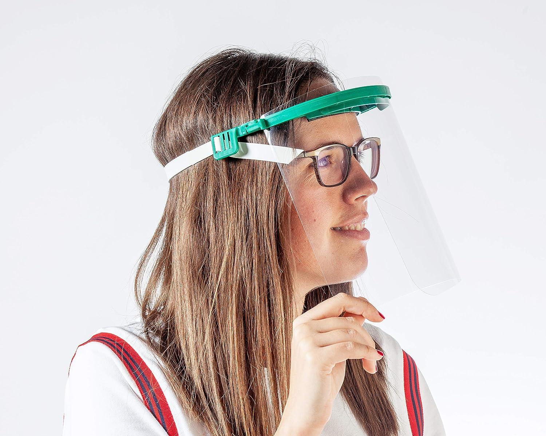Pantalla Protección Facial - Pantalla Protectora Cara, Protector Facial, Visera Protectora - Visera Ajustable, Reutilizable, Ligera, ServalPharm Verde