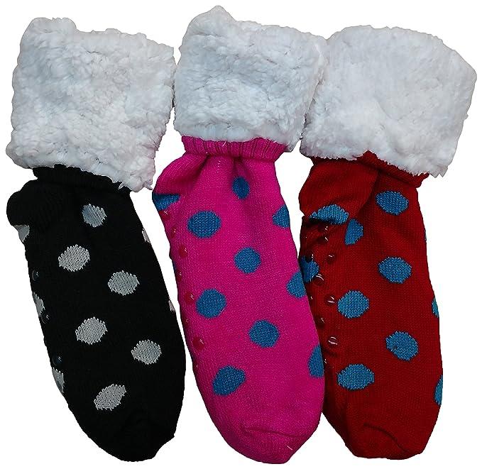 3 pares de calcetines de lona forrados con forro polar Sherpa, parte inferior de pinza