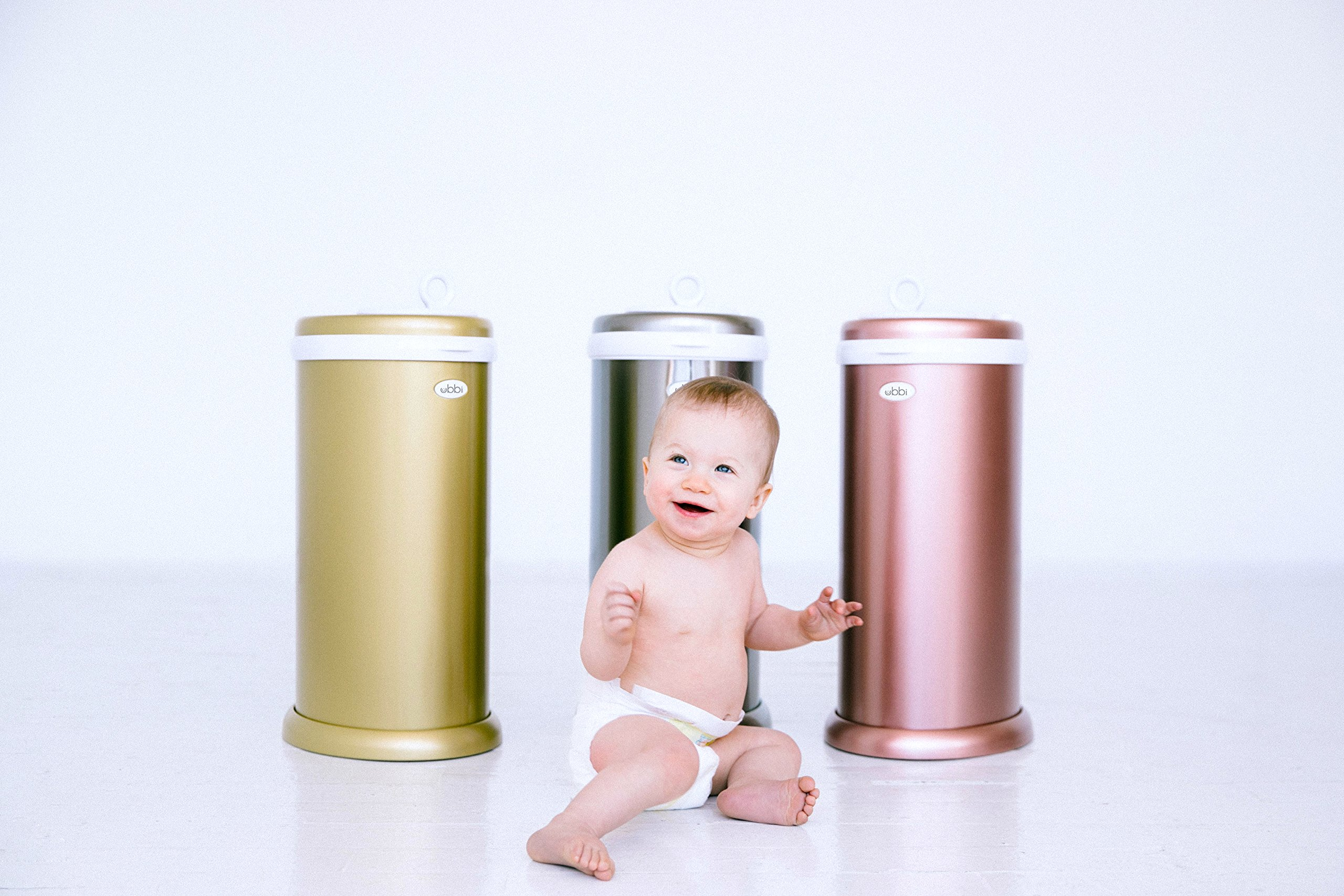 Ubbi Limited Edition, Money Saving, No Special Bag Required, Steel Odor Locking Diaper Pail, Rose Gold by Ubbi (Image #3)
