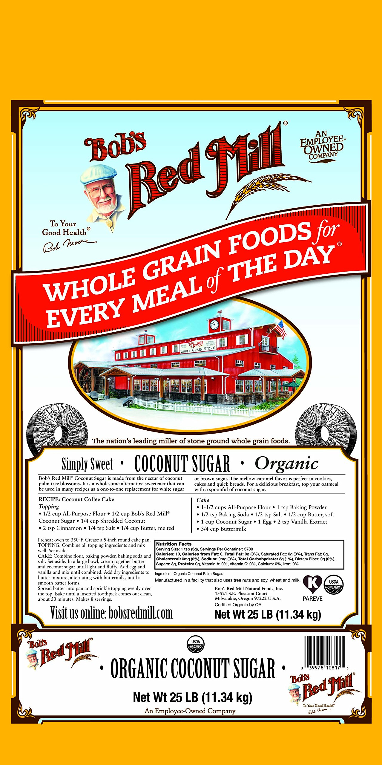 Bob's Red Mill Organic Coconut Sugar, 25 Pound by Bob's Red Mill (Image #1)