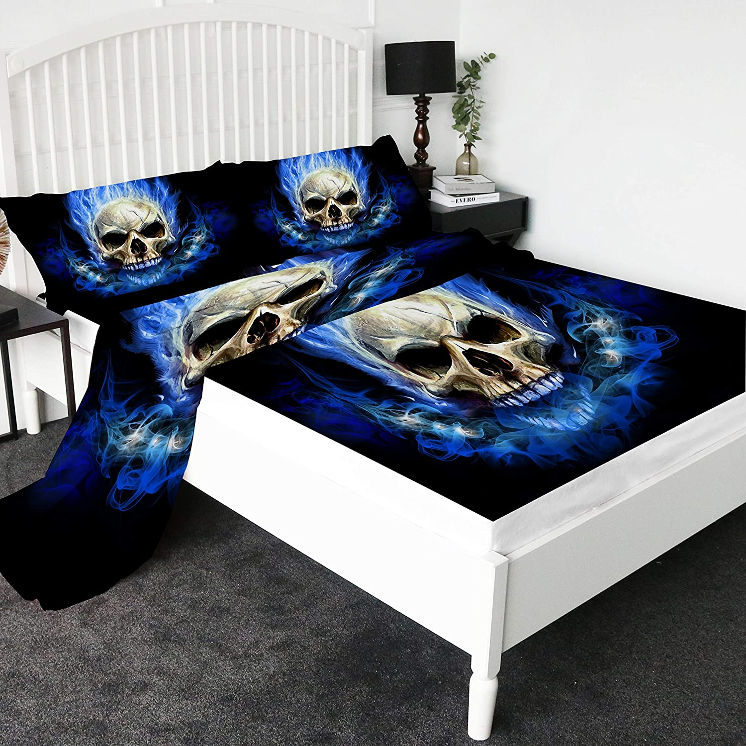 Full Sleepwsih Blue Skull Fire Duvet Cover Set 3 Pieces Skeleton Bedding Tribal Bedding Set Boys Black and Blue Ghost Bed Set