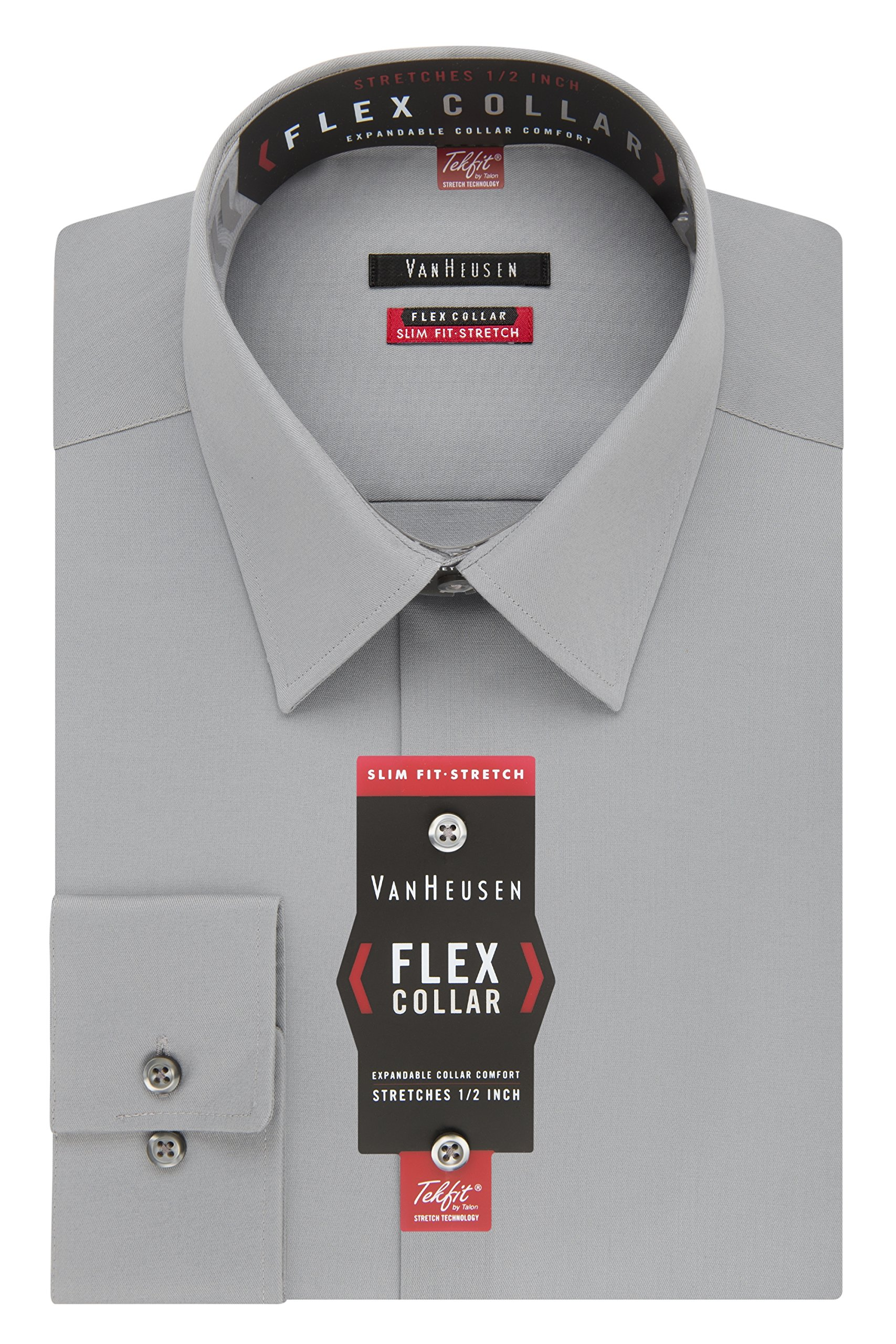 Van Heusen Men's Flex Collar Slim Fit Stretch Dress Shirt, Grey Mist, 18'' Neck 34''-35'' Sleeve