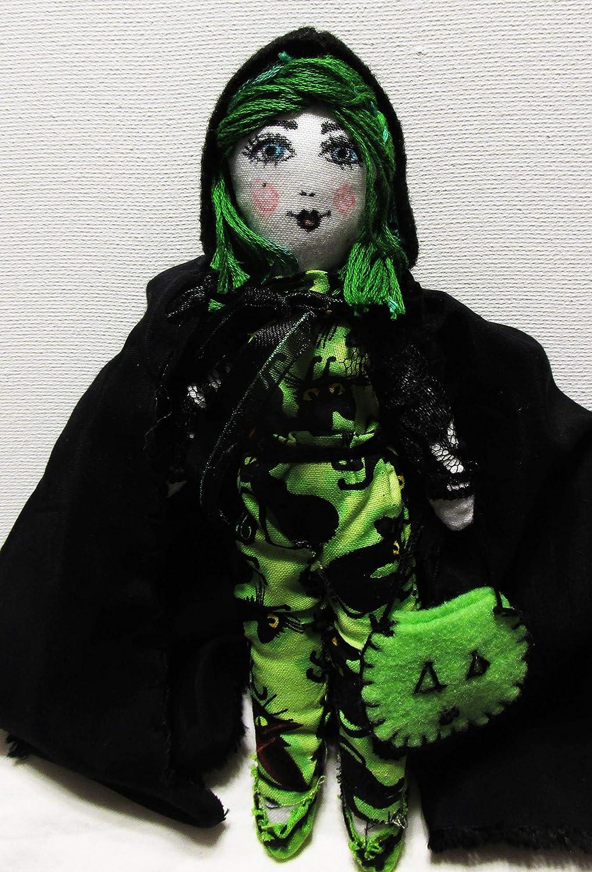 Green Hair Doll Halloween Trick or Treater Doll Handmade Doll,