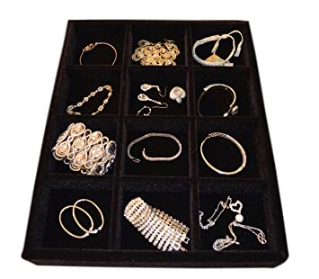 Amazoncom Jewelry Organizer Wood and Velvet Tray Organizer for