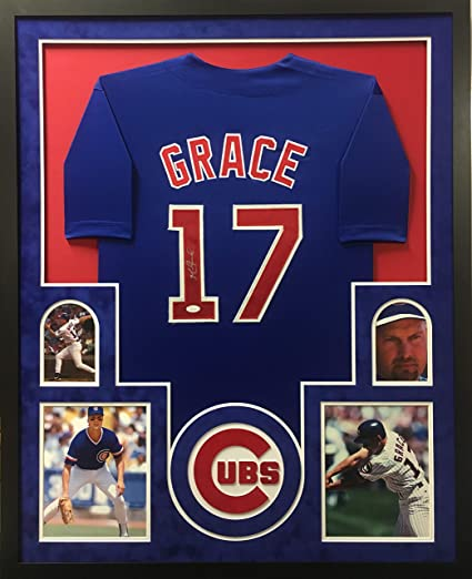Mark Grace Chicago Cubs Autograph Signed Custom Framed Jersey 4 Pic Suede Matted JSA Witnessed Certified