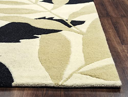Rizzy Home Pandora Collection Wool Area Rug, 8 Round, Ivory Khaki Black Floral