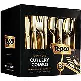 300 Gold Plastic Silverware Set - Plastic Gold Cutlery Set - Disposable Flatware Gold - 100 Gold Plastic Forks, 100 Gold…