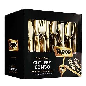 300 Gold Plastic Silverware Set - Plastic Gold Cutlery Set - Disposable Flatware Gold - 100 Gold Plastic Forks, 100 Gold Plastic Spoons, 100 Gold Cutlery Knives Heavy Duty Silverware for Party Bulk