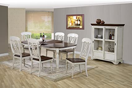 Beau Baxton Studio Newman Chic Country Cottage Antique Oak Wood And Distressed  White 7 Piece Dining