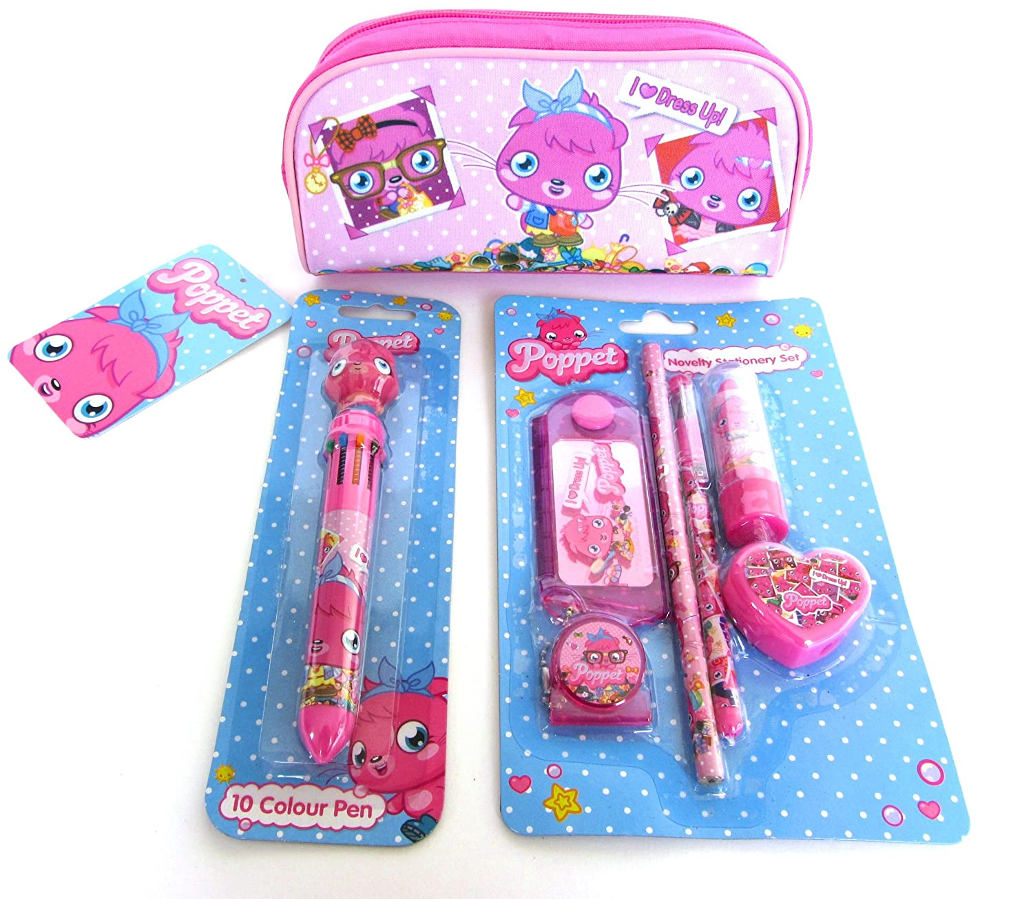 Moshi monster poppet novelty stationery set multi color pen and pencil case gift set amazon co uk toys games