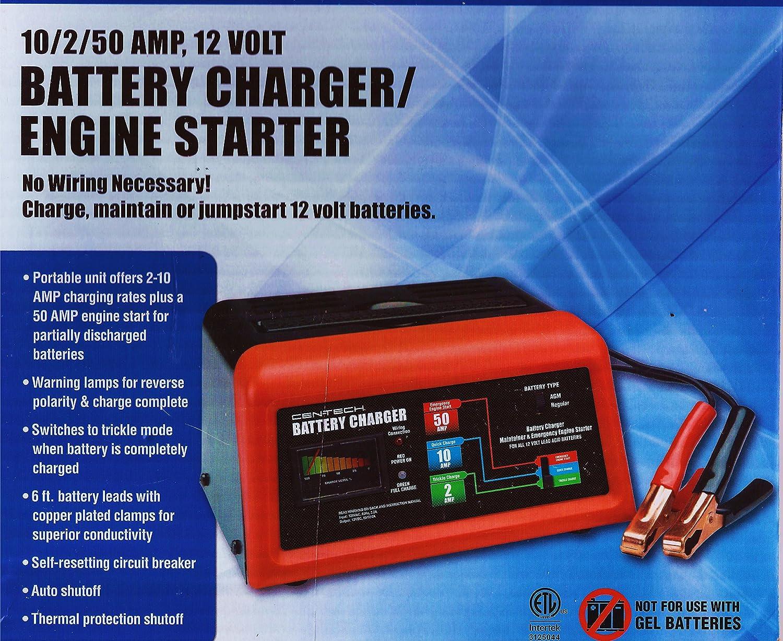 10 2 50 Amp 12 Volt Battery Charger Engine Starter Cen Tech 7 Function Digital Multimeter For Electronic Circuit Automotive