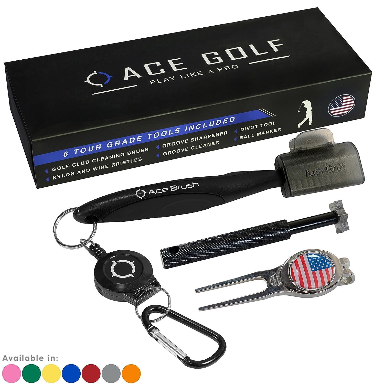 Golf Brush Club Groove Cleaner Set Divot Tool, Ball Marker, Groove  Sharpener, 2 Ft Retractable Zip-line Aluminum Carabiner, Lightweight,  Ergonomic