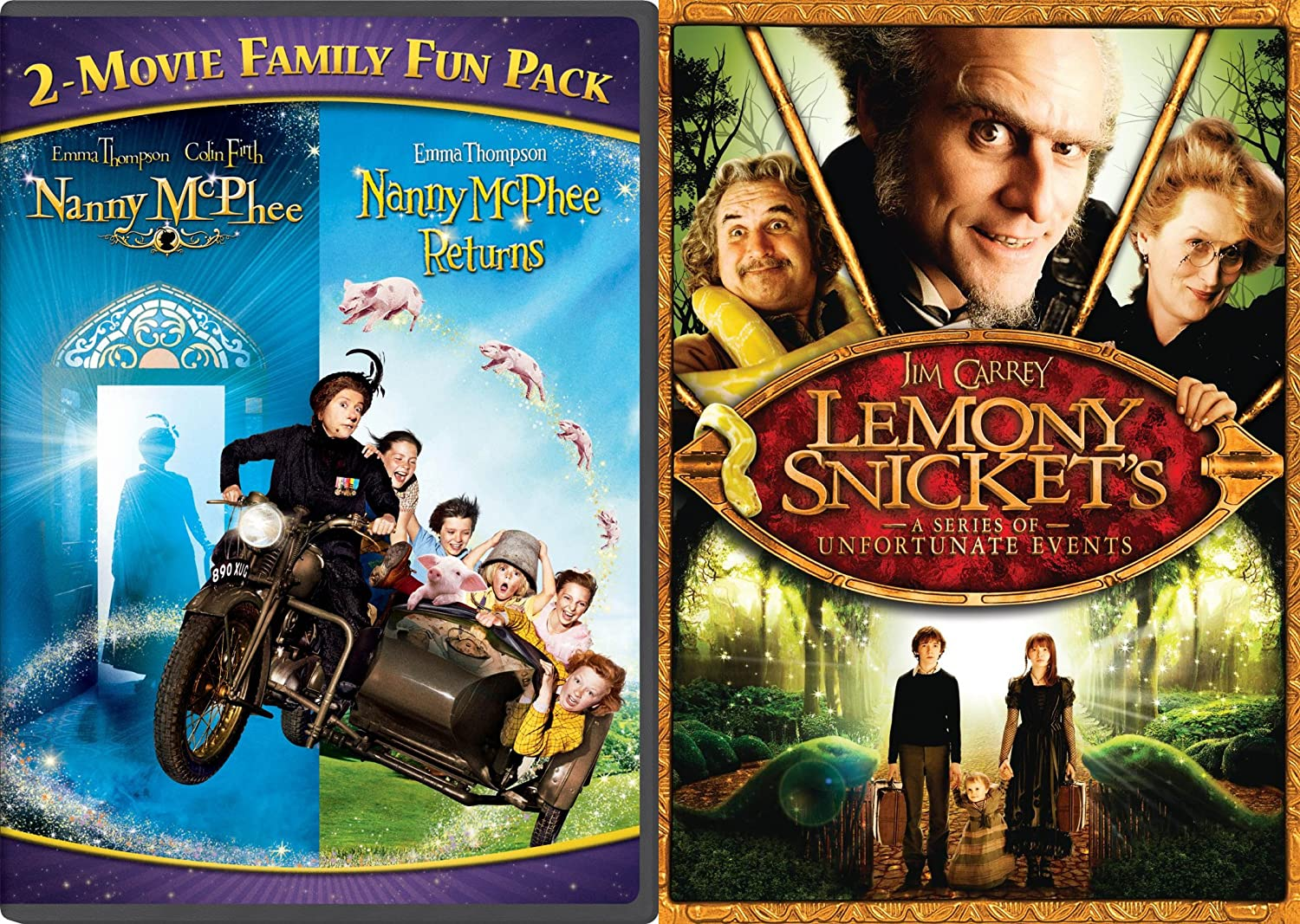 Amazon Com Nanny Mcphee 2 Movie Family Fun Pack Lemony Snicket S A Series Of Unfortunate Events 2 Dvd Nanny Mcphee Returns Part 2 Fantasy Set Family Movies Emma Thompson Colin Firth Maggie Gyllenhaal