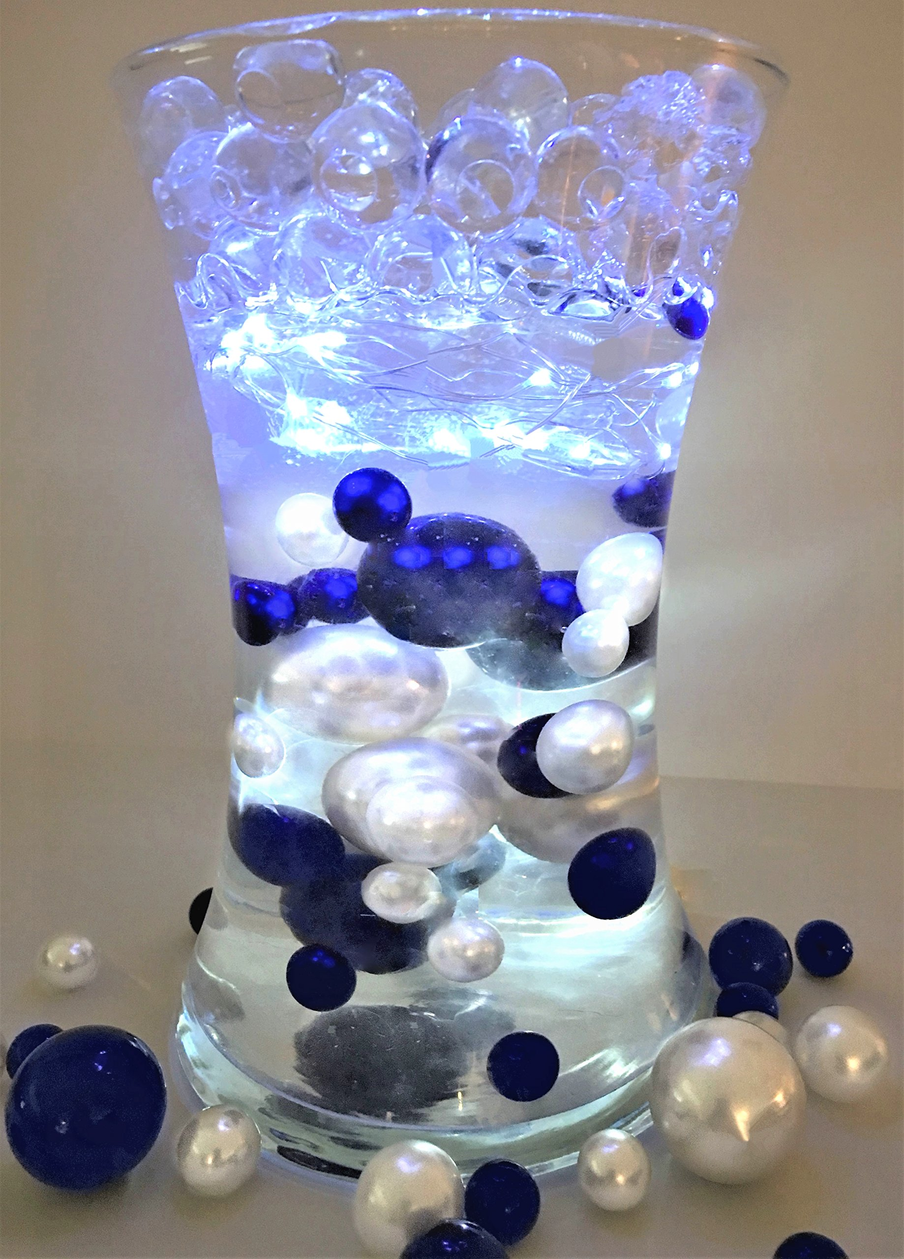 80 Royal Blue & White Pearls - Jumbo and Assorted Sizes Vase Fillers for Decorating Centerpieces - To Float the Pearls - Order with Transparent Water Gels by Vase Pearlfection