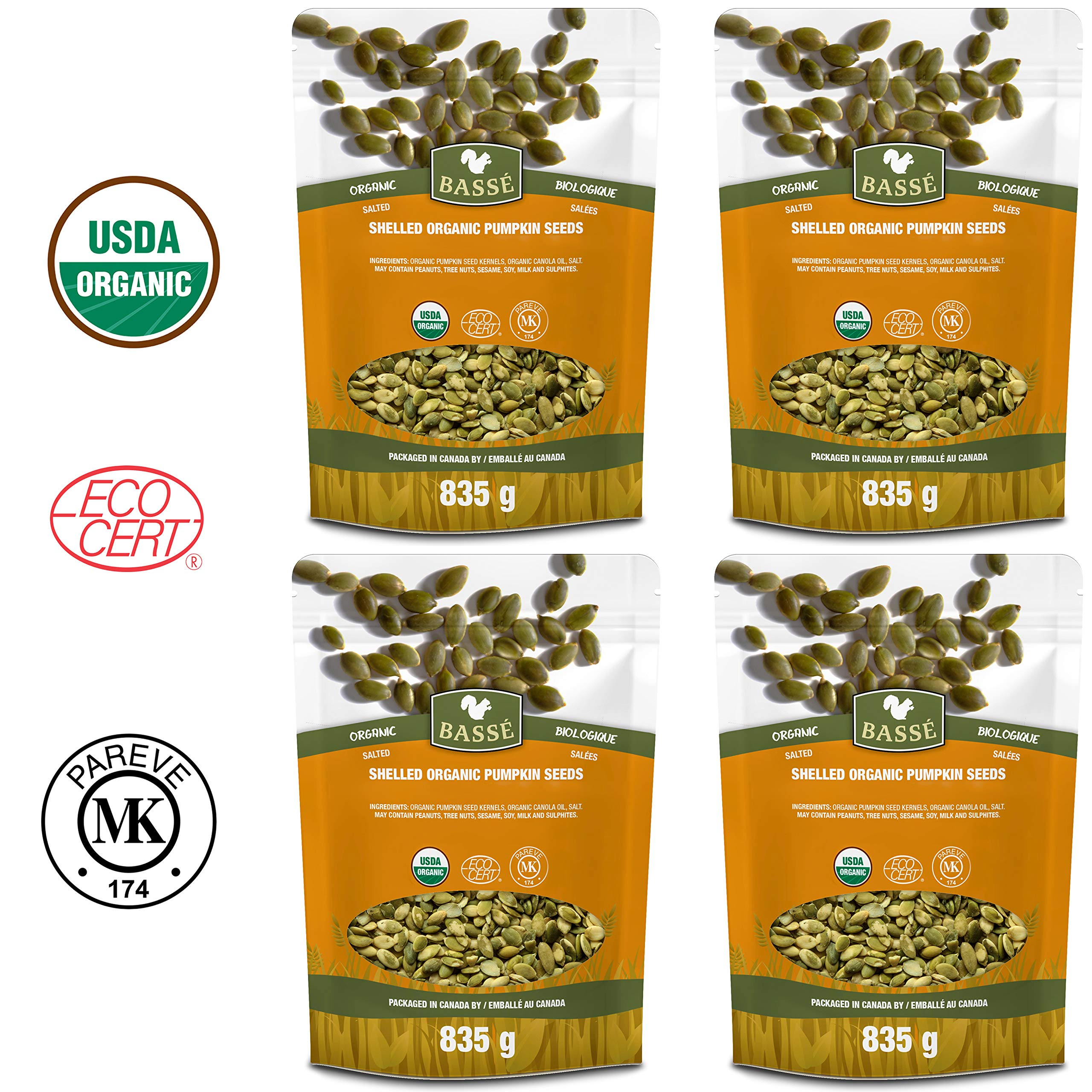 Basse Organic Pumpkin Seeds Kernels Nutritious, Salted, Wholesome, Superfood Snack 7.36 lb