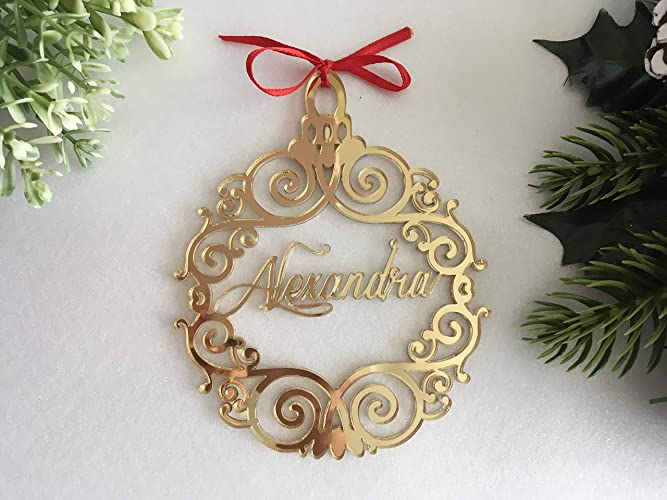 Christmas Decorations Handmade.Christmas Hanging Tree Ornaments Handmade Luxury Personalized Laser Cut Bauble Custom Name Tags Baubles Babys First Christmas Ball Xmas Gifts Family