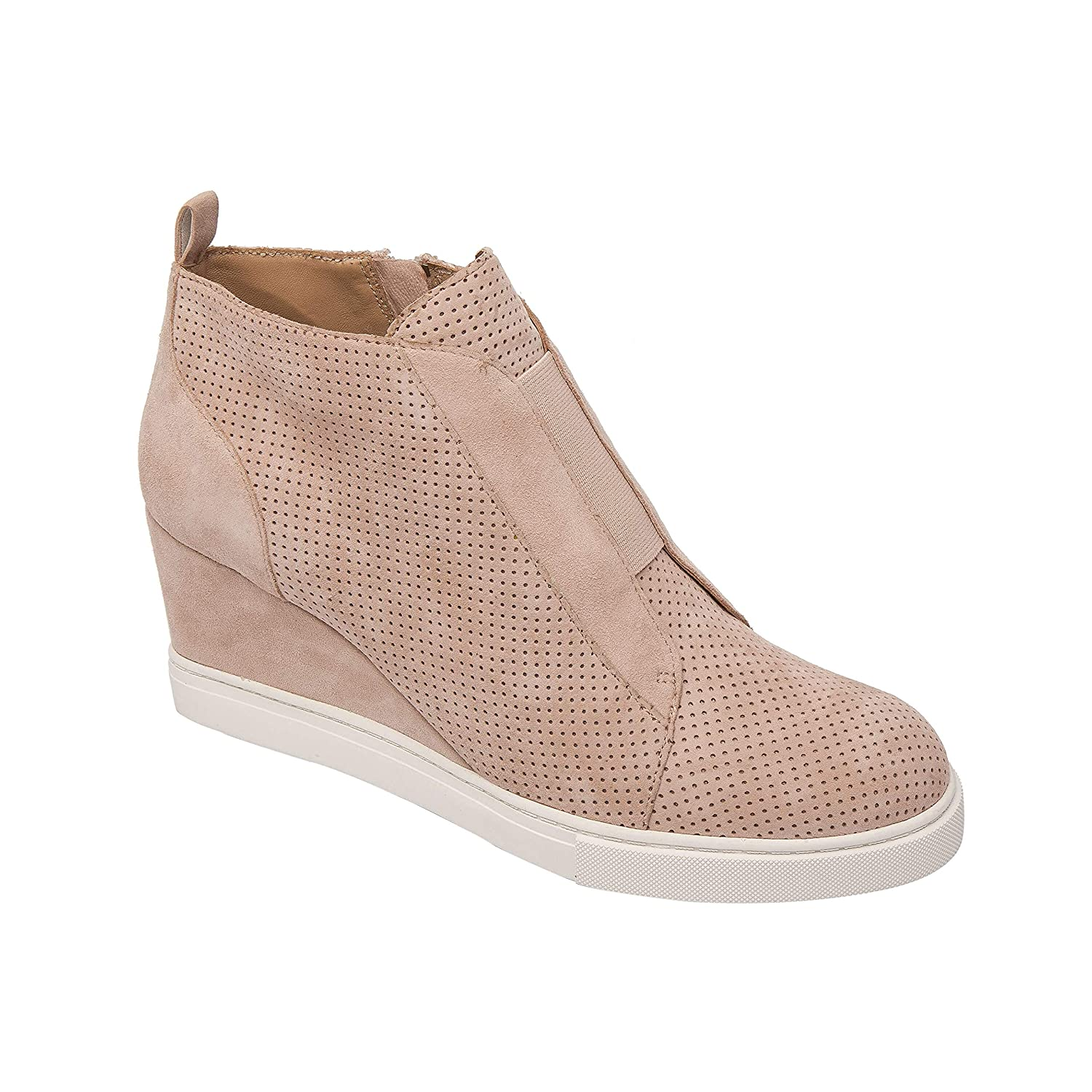 9efdf2bb09 Amazon.com | Linea Paolo Felicia | Platform Wedge Bootie Sneaker Blush  Perforated Suede 4.5M | Fashion Sneakers