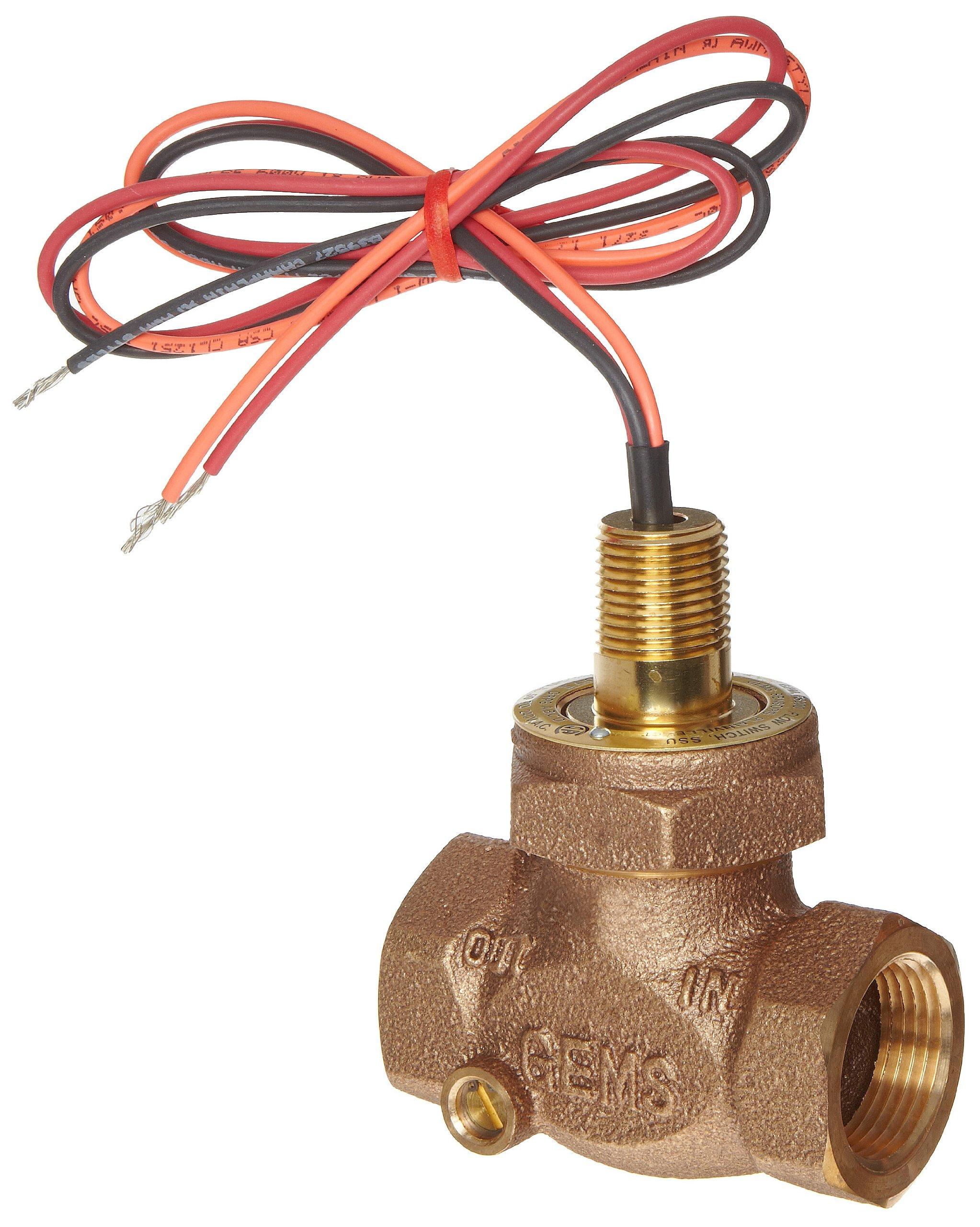 Gems Sensors FS-200 Adjustable Series Bronze Flow Switch, Inline, Shuttle Type, 1.0 - 6.0 gpm Flow Setting Adjustment Range, 1'' NPT Female
