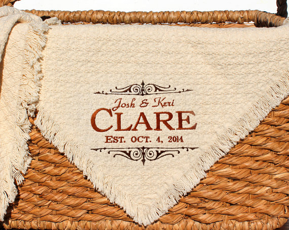 Personalized Wedding Embroidered Throws and by PersonalStitchG​ifts