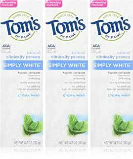 product image for Tom's of Maine Simply White Toothpaste, Clean Mint, 3 Count