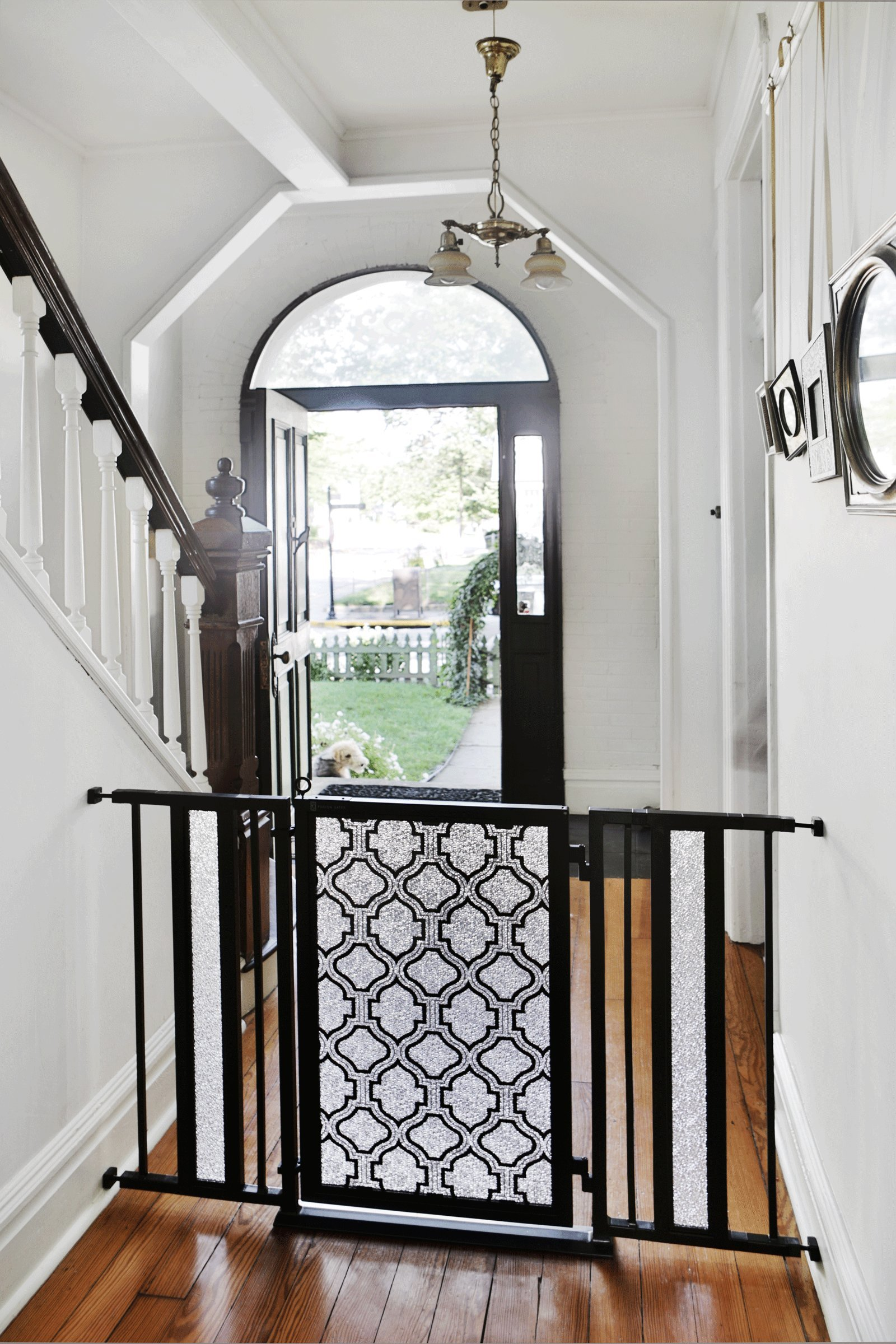 Fusion Gate for Baby & Dogs with Trellis Art Screen Design (Black, 52'' - 60'')