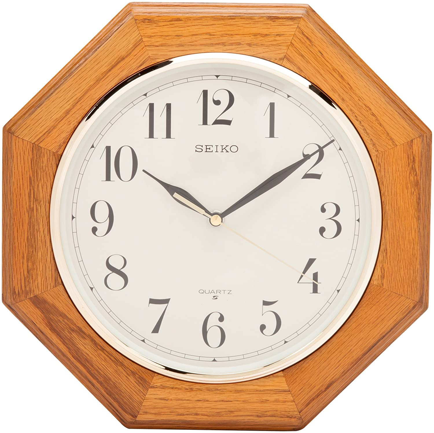 Amazon seiko wall clock medium brown solid oak case watches amipublicfo Image collections