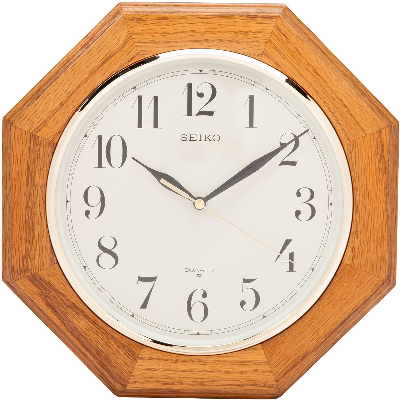 Amazon Seiko Wall Clock Medium Brown Solid Oak Case Watches