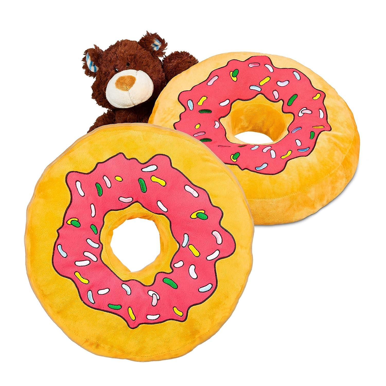 Donat bunte Streusel rosa Glasur Kuschelkissen Dekokissen Donut Sitzkissen