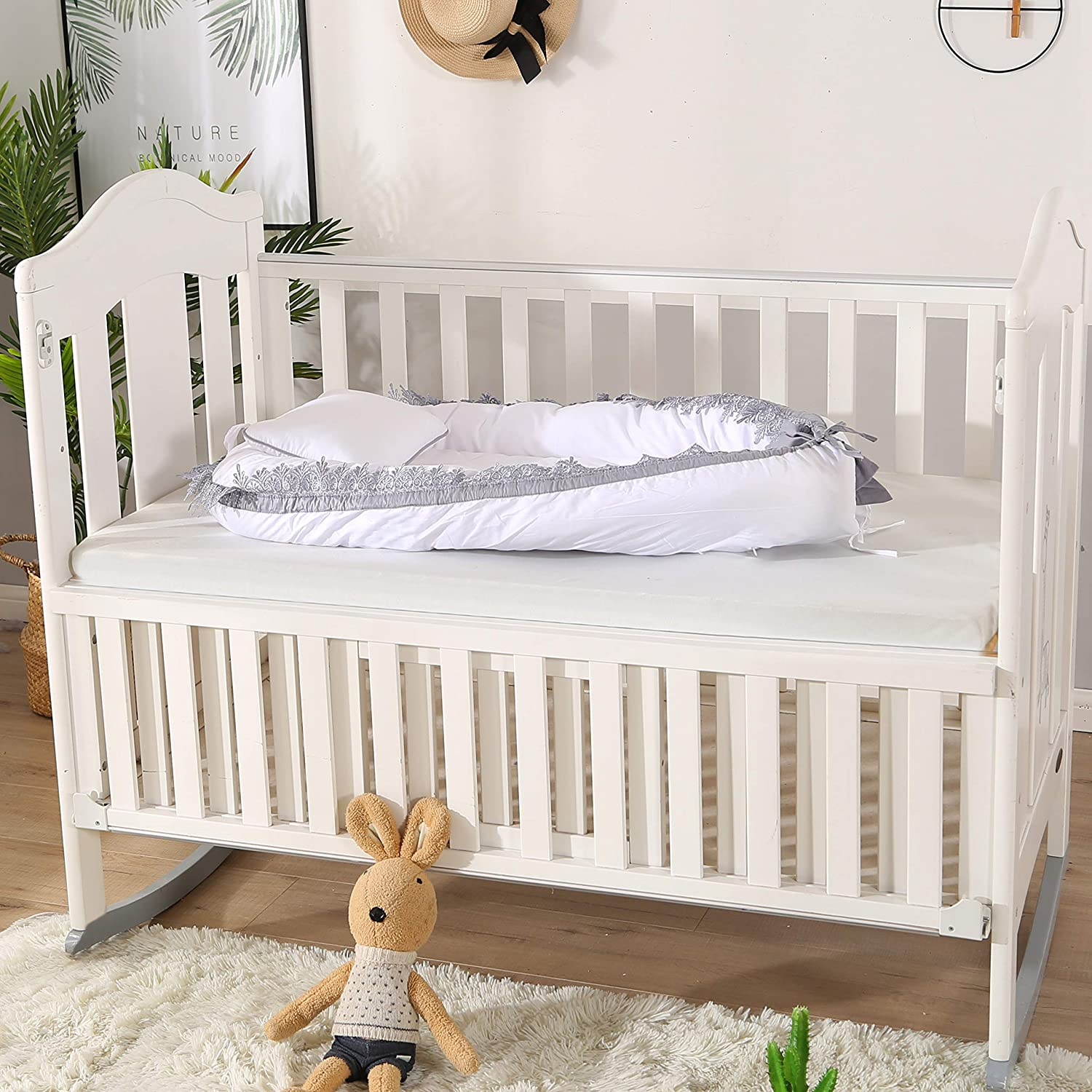 Portable Baby Lounger for Bed 100/% Cotton Newborn Portable Bassinet Cribs Breathable and Hypoallergenic for Newborn 4-Pieces
