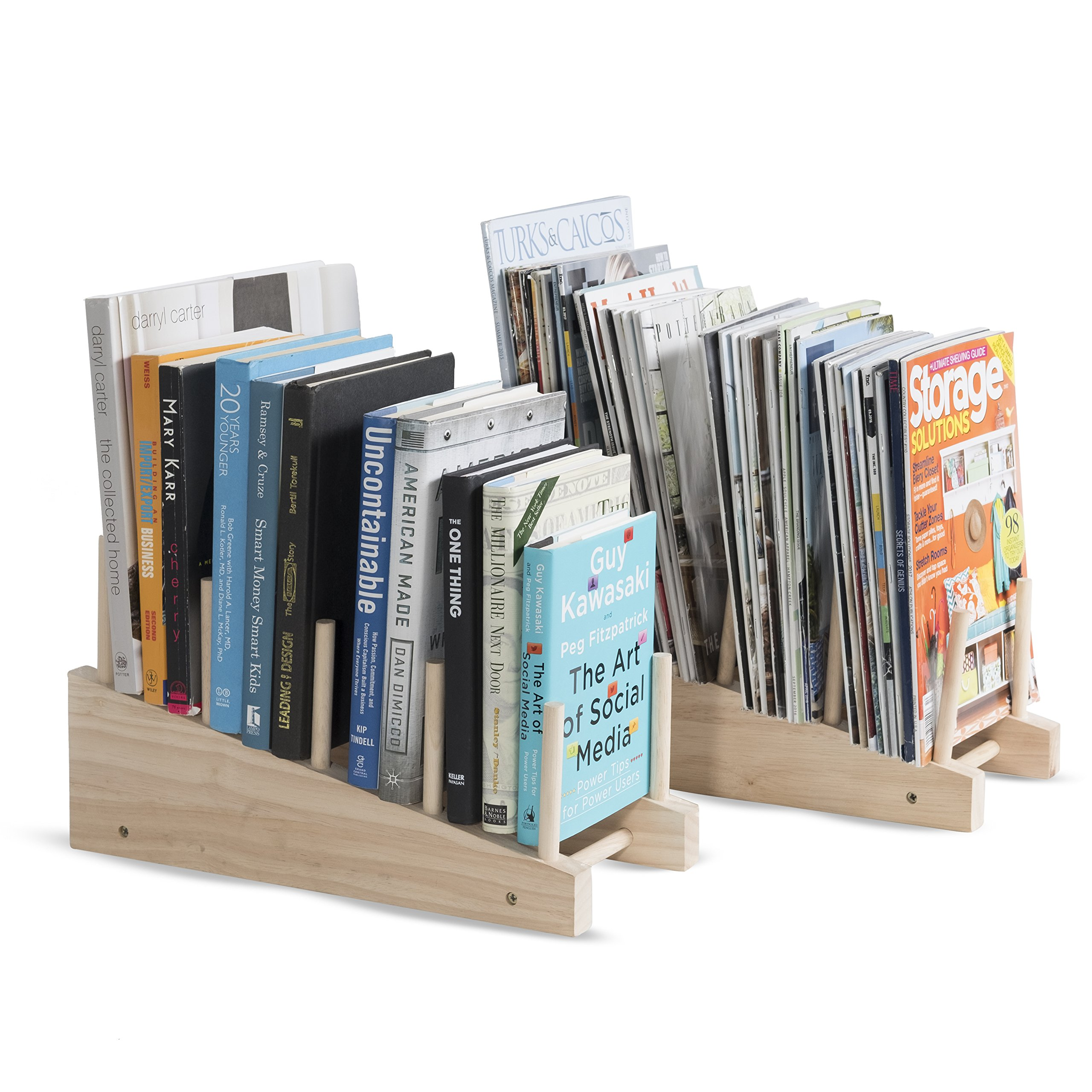 brightmaison Table Desk Top File Wooden Magazine Holder and Book Organizer Stacking Sorter 4 Sectional Set of 2 Natural